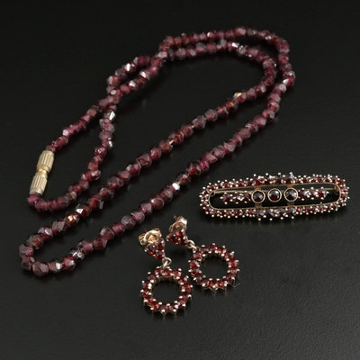 Mixed Metal Garnet Necklace, Earrings and Brooch