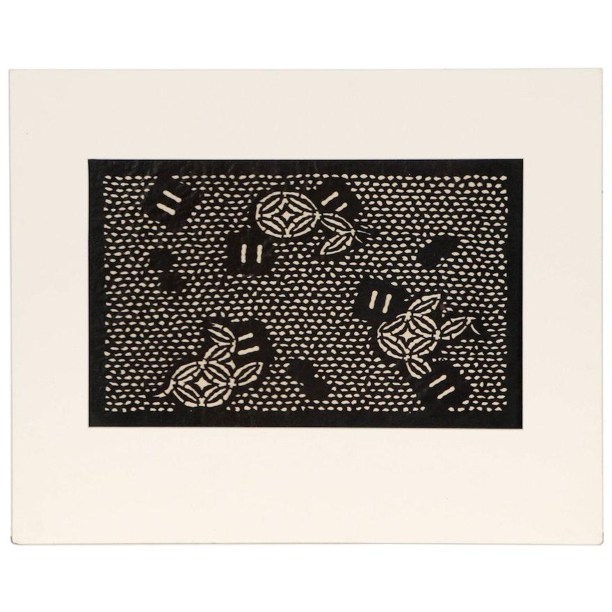 Japanese Katagami Textile Stencil, Meiji to Showa Period