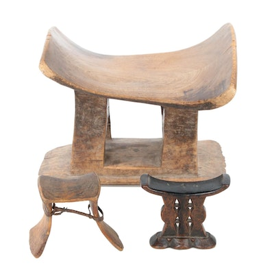 Ashanti Carved Wood Stool and Southeast African Wood Headrests