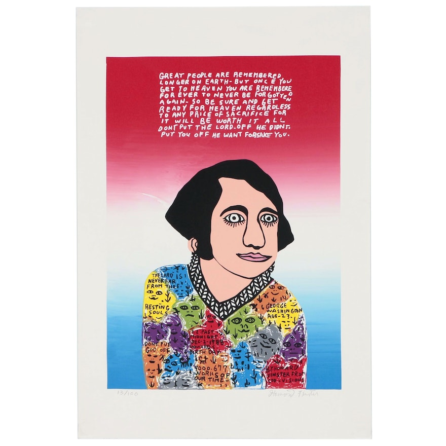 """Howard Finster Serigraph """"Young George"""""""