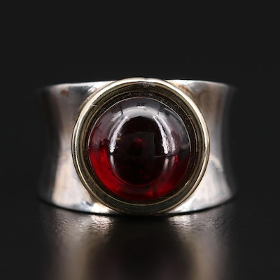 Sterling Silver Garnet Ring with 18K Gold Accent