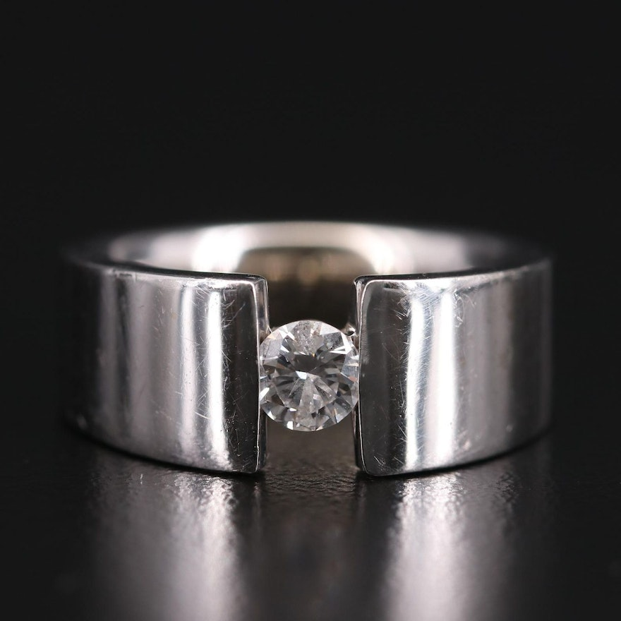 14K White Gold 0.40 CT Solitaire Ring