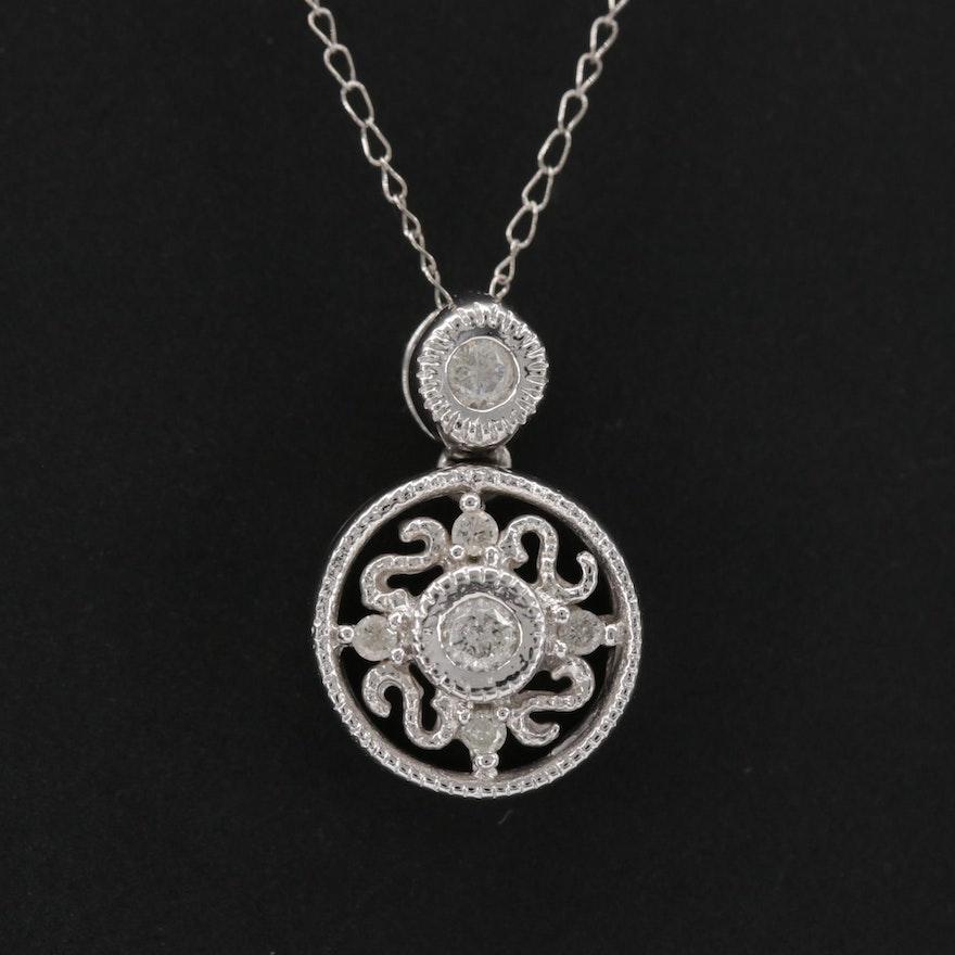 10K White Gold Diamond Pendant Necklace