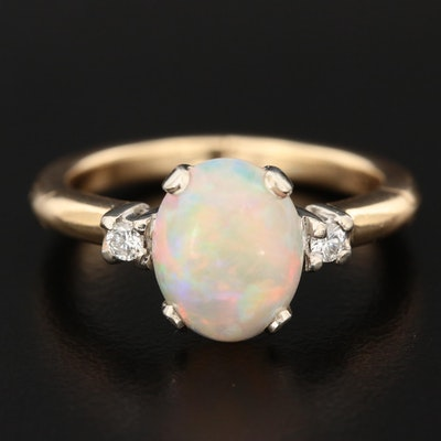 14K Yellow Gold Opal and Diamond Ring with Arthritic Shank