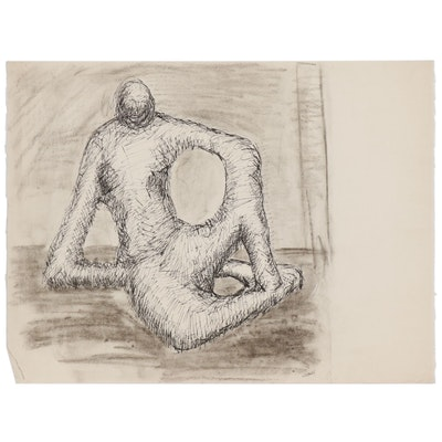 W. Glen Davis Ink and Charcoal Drawing of Abstract Figure