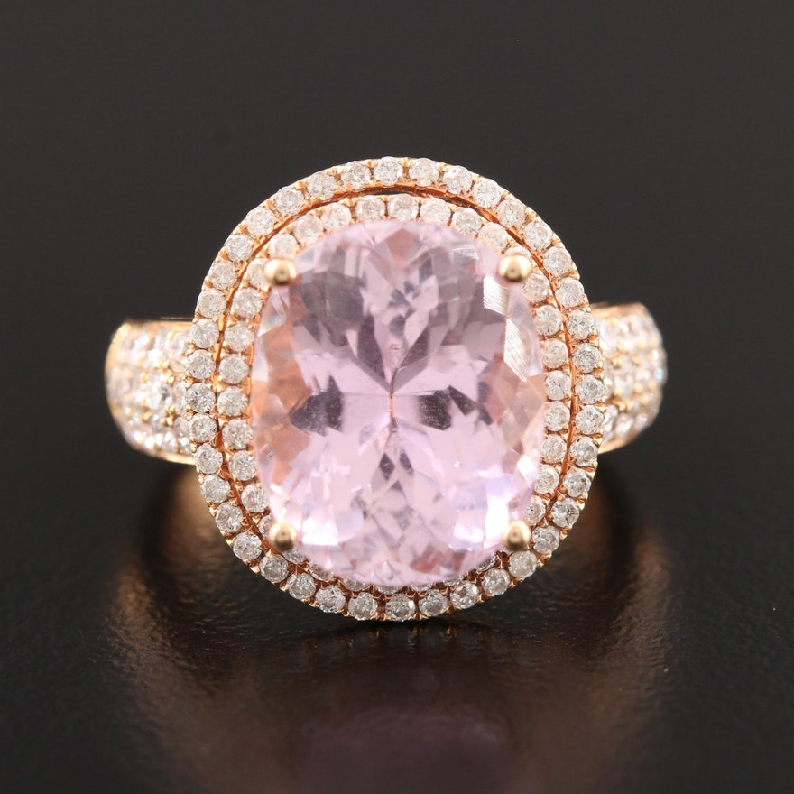 18K Gold Kunzite and 1.02 CTW Diamond Ring