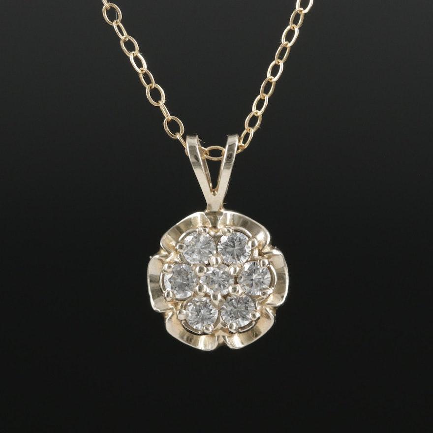 Vintage 14K Yellow Gold Diamond Scalloped Pendant Necklace
