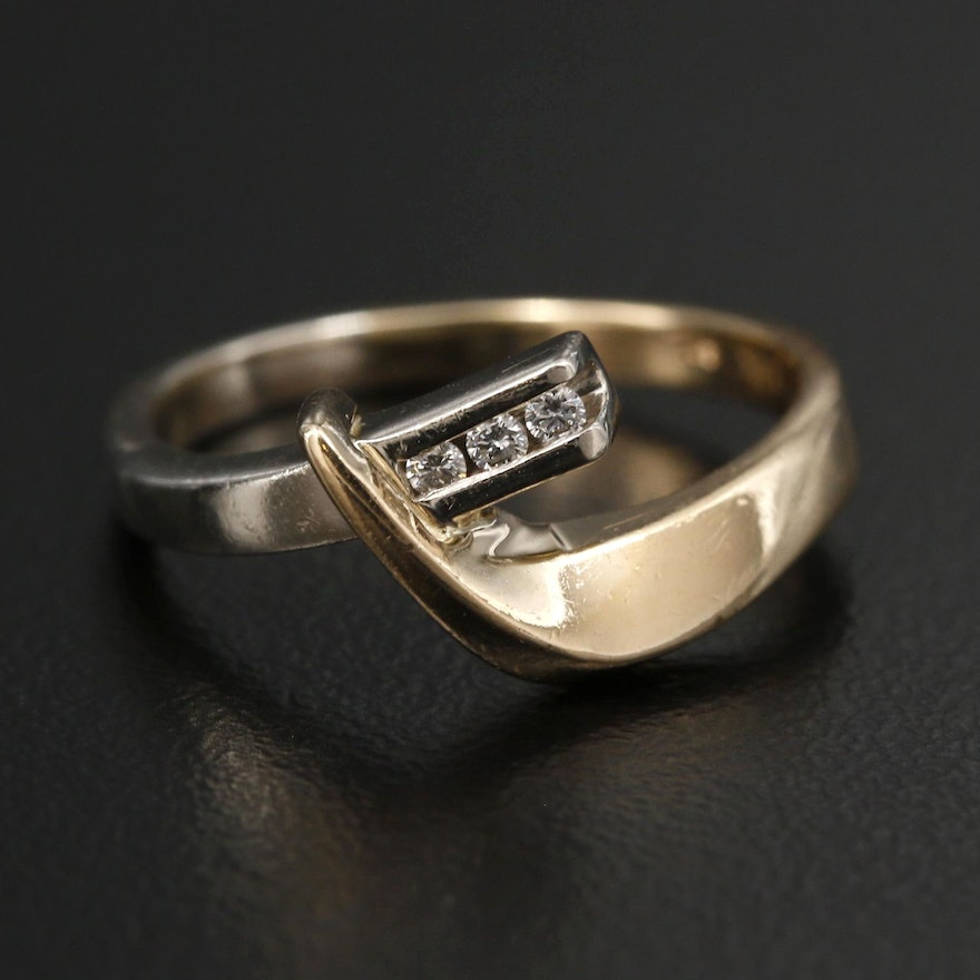14K Yellow and White Gold Diamond Crossover Ring