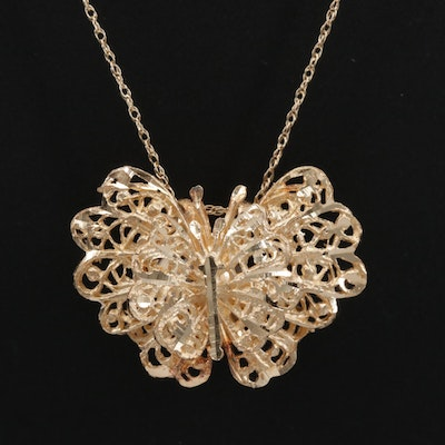 14K Yellow Gold Filigree Butterfly Pendant Necklace