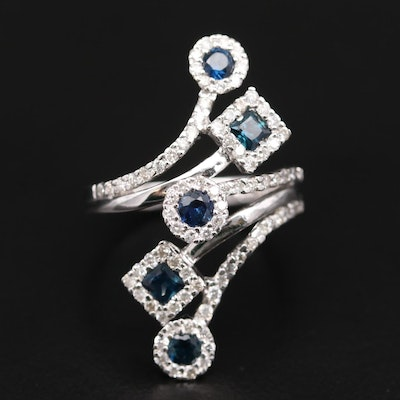 14K White Gold Sapphire and Diamond Bypass Ring