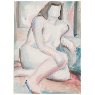 W. Glen Davis Figure Watercolor Painting