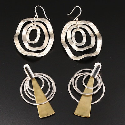 Sterling Silver and Brass Dangle Earrings