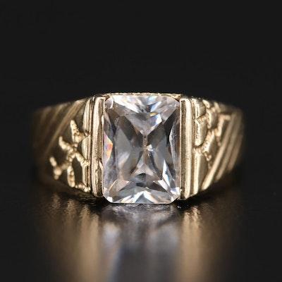 14K Yellow Gold Cubic Zirconia Textured Ring