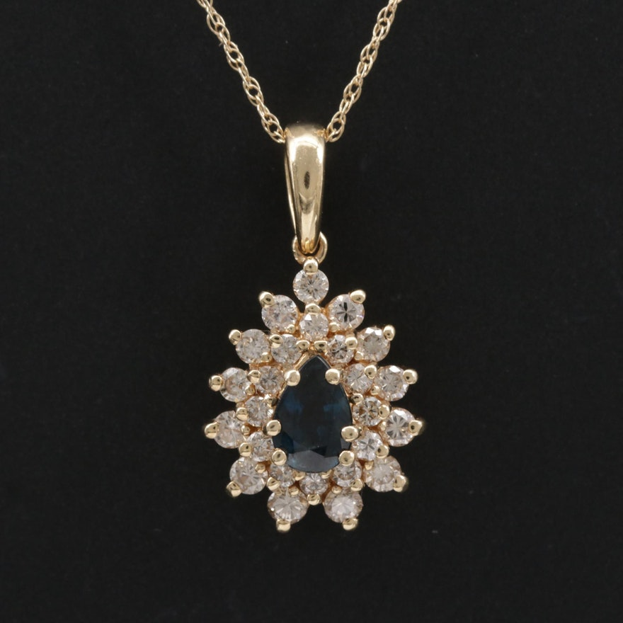 14K Yellow Gold Blue Sapphire and Diamond Pendant Necklace