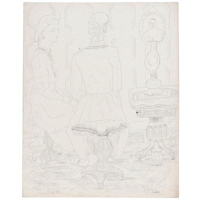 W. Glen Davis Figure Ink Drawing