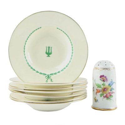 "Minton ""Lyre Green"" Porcelain Soup Bowls and Richard Klemm Dresden Sugar Caster"