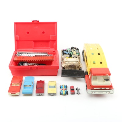 Toy Collection of Plastic and Metal Truck and Cars with Toolbox Erector Set