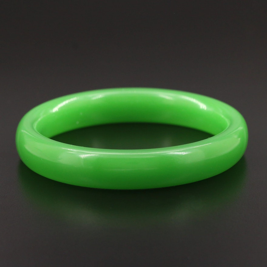 Green Glass Bangle Bracelet