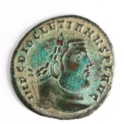 Ancient Roman Imperial AE Follis Coin of Diocletian, ca. 300 A.D.