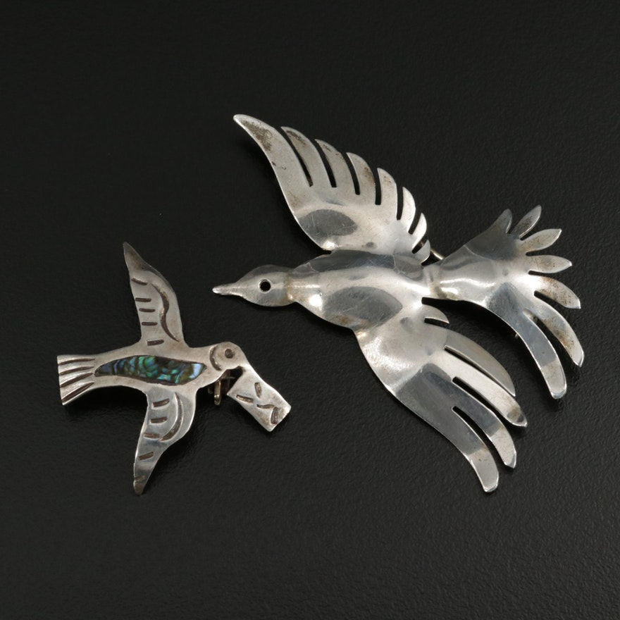Mexican Sterling Silver Abalone Bird Brooches