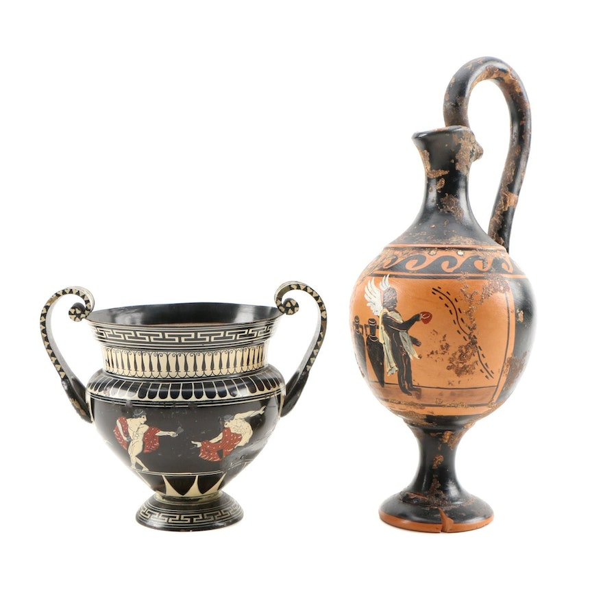 """Hand Painted Ceramic """"Greek Myth"""" Motif  Water Pitcher with Copper Krater"""