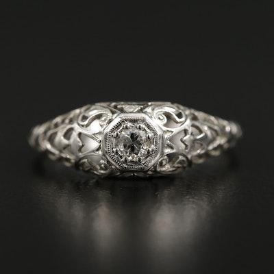 Edwardian 18K White Gold Diamond Filigree Ring