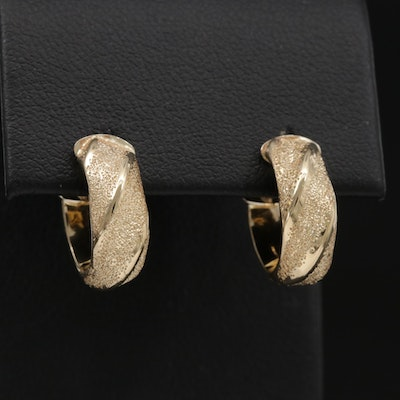 14K Yellow Gold Textured Hoop Earrings