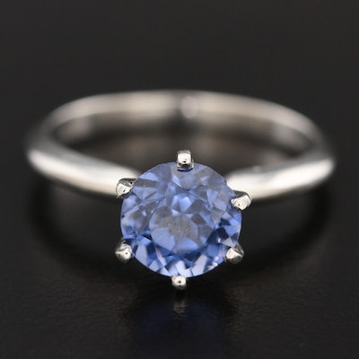 Platinum Synthetic Sapphire Solitaire Ring