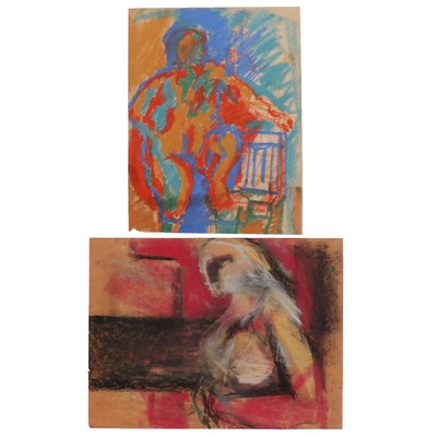 Oscar Murillo Abstract Figure Pastel Drawings