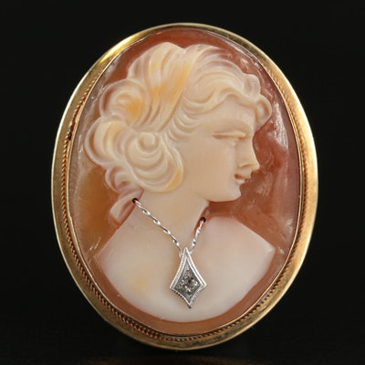 Vintage 14K Yellow Gold Habillé Helmet Shell and Diamond Cameo Converter Brooch