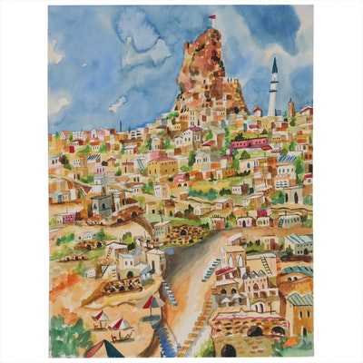 "Kathleen Zimbicki Watercolor Painting ""Happy Italian Town"""
