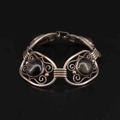 Sterling Silver Sheen Obsidian Bracelet