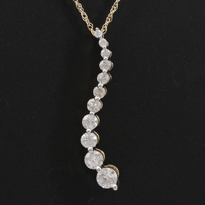 14K Yellow Gold Diamond Journey Pendant Necklace