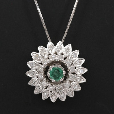 1950s 14K White Gold Emerald and Diamond Pendant Necklace