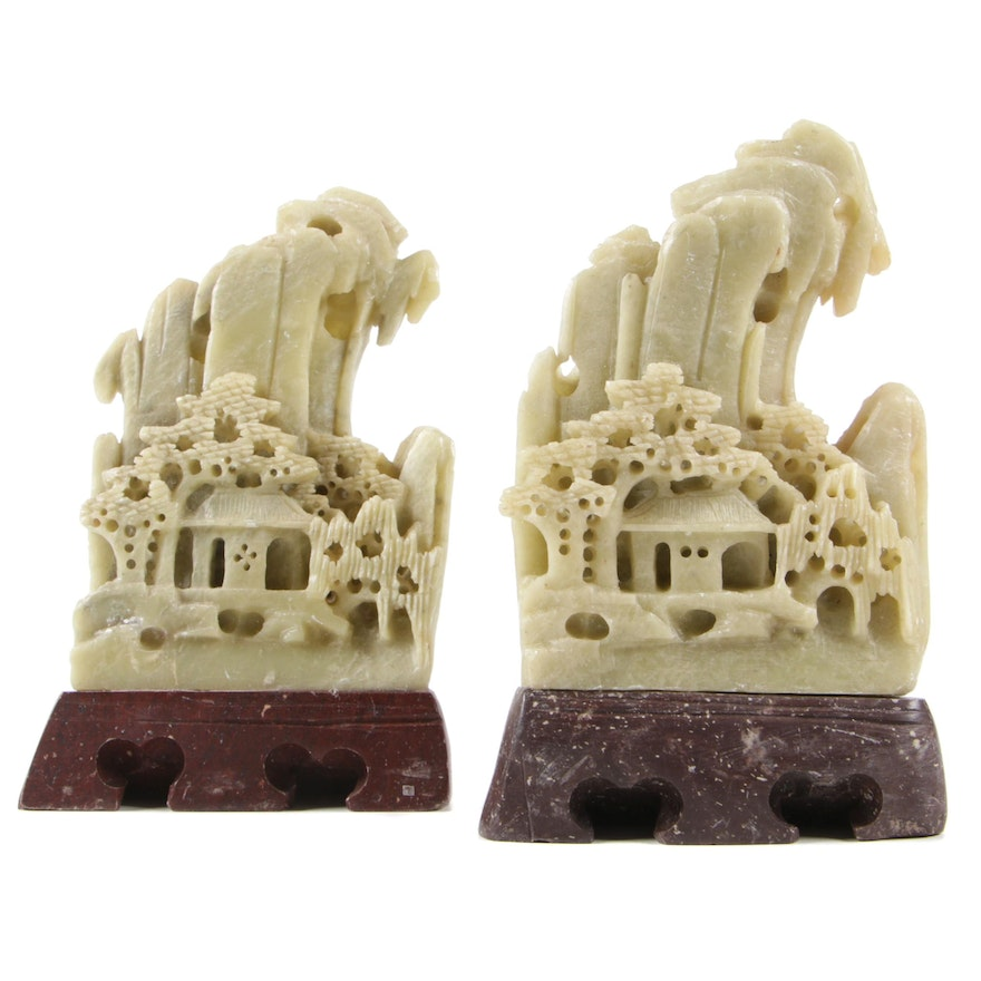 Pair of Chinese Soapstone Landscape Carvings
