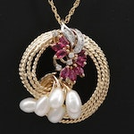 14K Yellow Gold Pearl, Ruby and Diamond Pendant Necklace