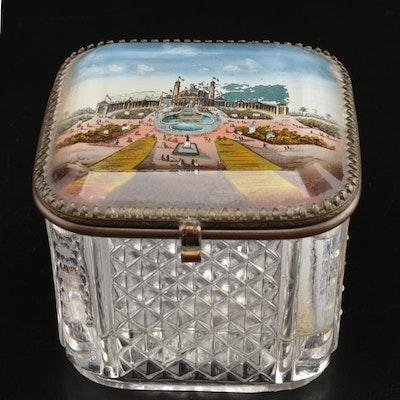 French Palais du Trocadéro Paris World's Fair Cut Glass Box, 1878