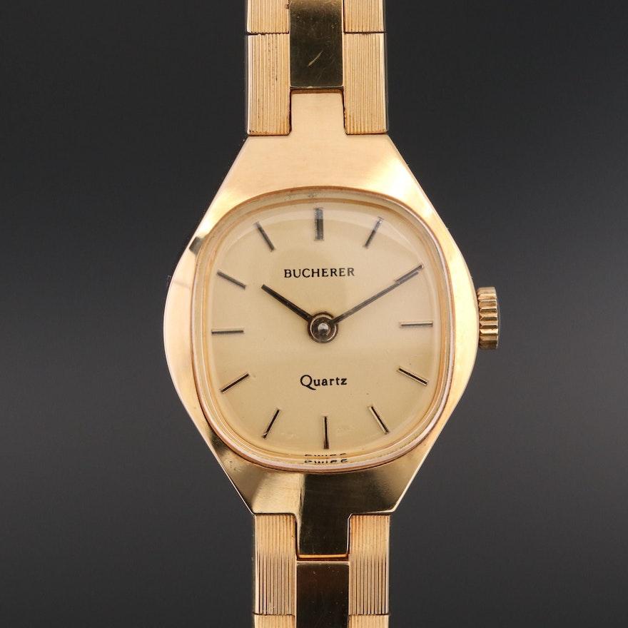 Vintage Bucherer Gold Tone Quartz Wristwatch