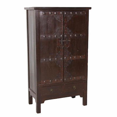 Asian Style Wood Cabinet with Nailhead Accents