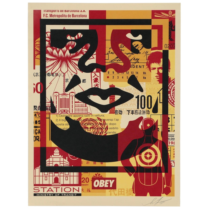 """Shepard Fairey Offset Print from the """"Obey 3 Face Collage"""" Series"""