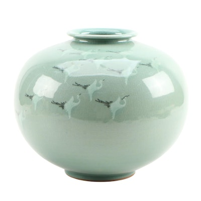 Korean Celadon Crackle Glaze Ceramic Vase with Cranes in Flight