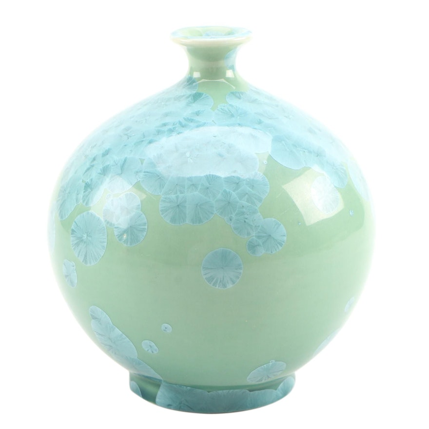 Crystalline Glaze and Celadon Green Ceramic Pottery Vase