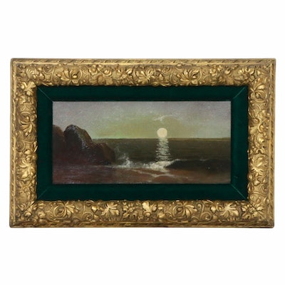 Coastal Scene Oil Painting, Late 19th/Early 20th Century