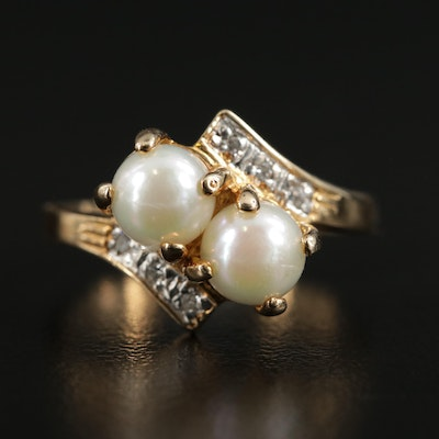 10K Yellow Gold Cultured Pearl and Diamond By Pass Ring