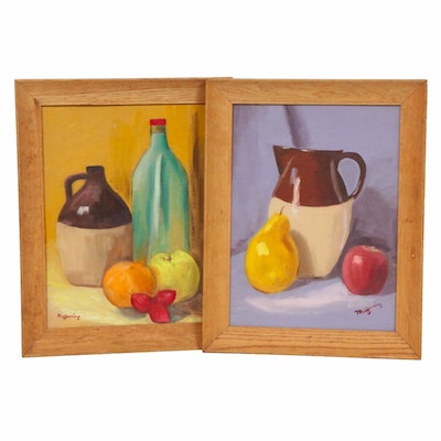 May Gearing Still Life of Fruit and Jugs Oil Paintings, 1966