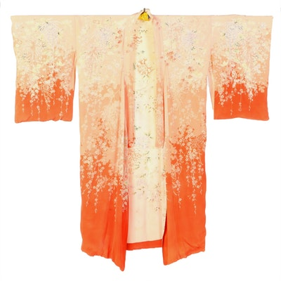 Japanese Silk Kimono with Florals and Maple Leaves, 1940s Vintage