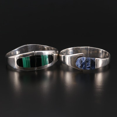 Mexican Sterling and 950 Silver Sodalite, Black Onyx, and Malachite Bracelets