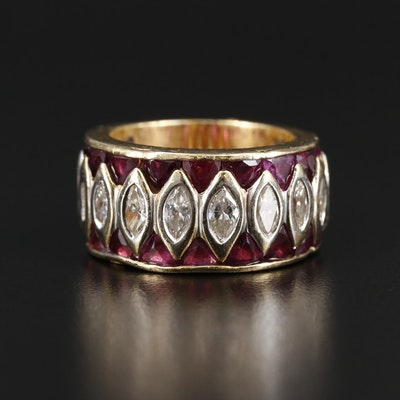 18K Yellow Gold 1.48 CTW Diamond and Ruby Ring