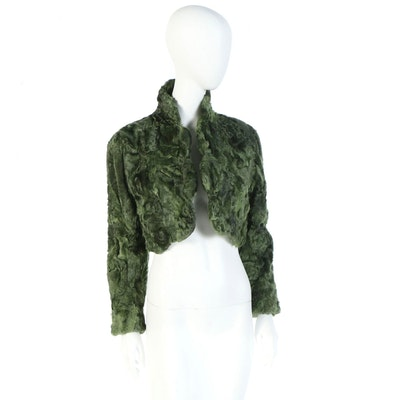 Custom Dyed Green Lamb Fur Bolero Jacket with Vintage Emilio Pucci Lining