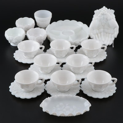 "Westmoreland ""Paneled Grape"" Milk Glass Cups, Saucers, and More"